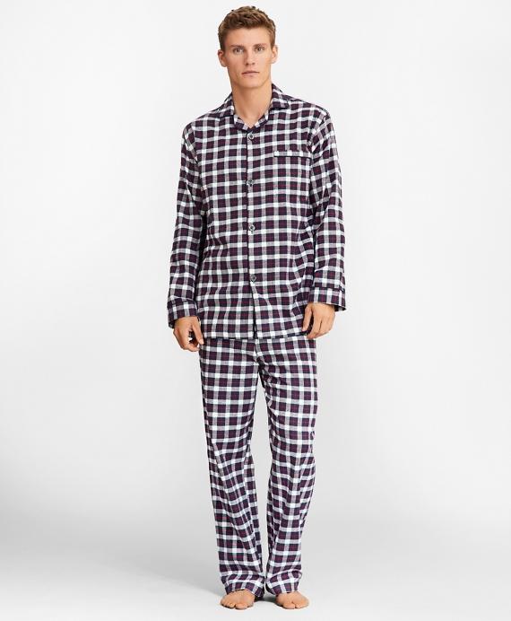 Plaid Flannel Pajamas Navy