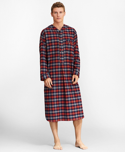 Red Plaid Flannel Nightshirt