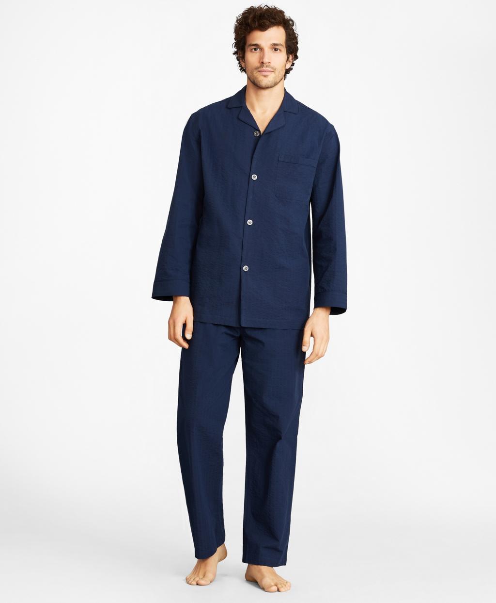 Vintage Men's Underwear Brooks Brothers Mens Seersucker Tonal Stripe Pajamas $98.50 AT vintagedancer.com