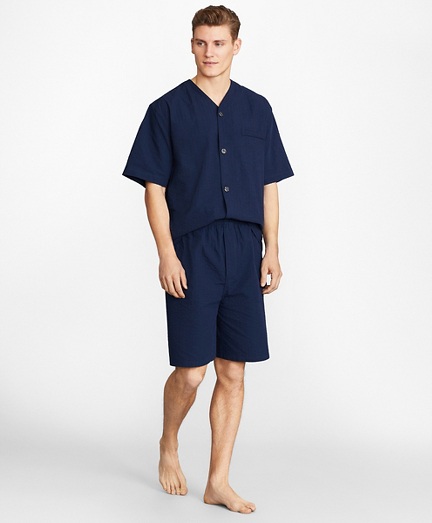 Seersucker Tonal Stripe Short Pajamas