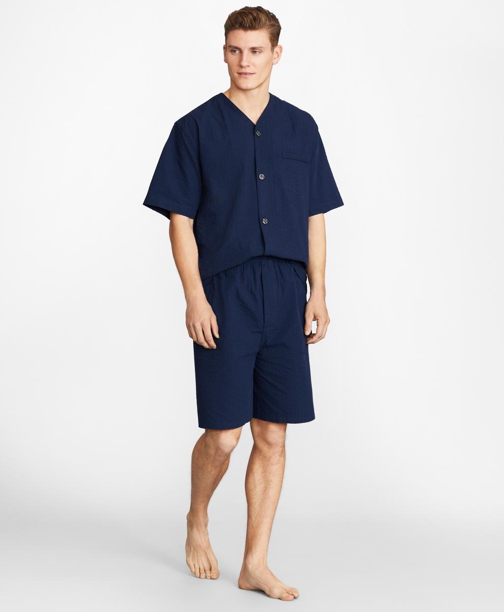 Vintage Men's Underwear Brooks Brothers Mens Seersucker Tonal Stripe Short Pajamas $79.50 AT vintagedancer.com