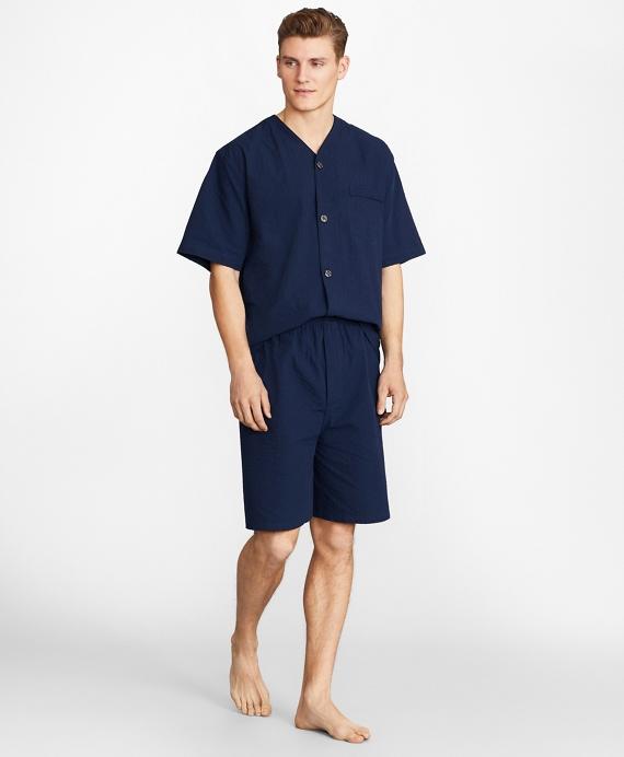 Seersucker Tonal Stripe Short Pajamas Navy