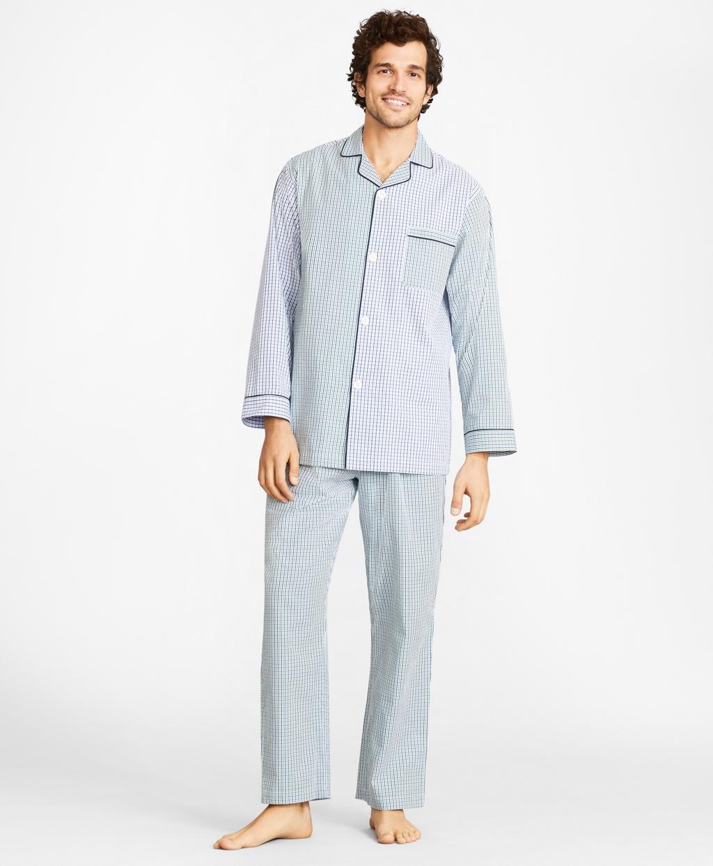Vintage Men's Underwear Brooks Brothers Mens Seersucker Fun Plaid Pajamas $98.50 AT vintagedancer.com