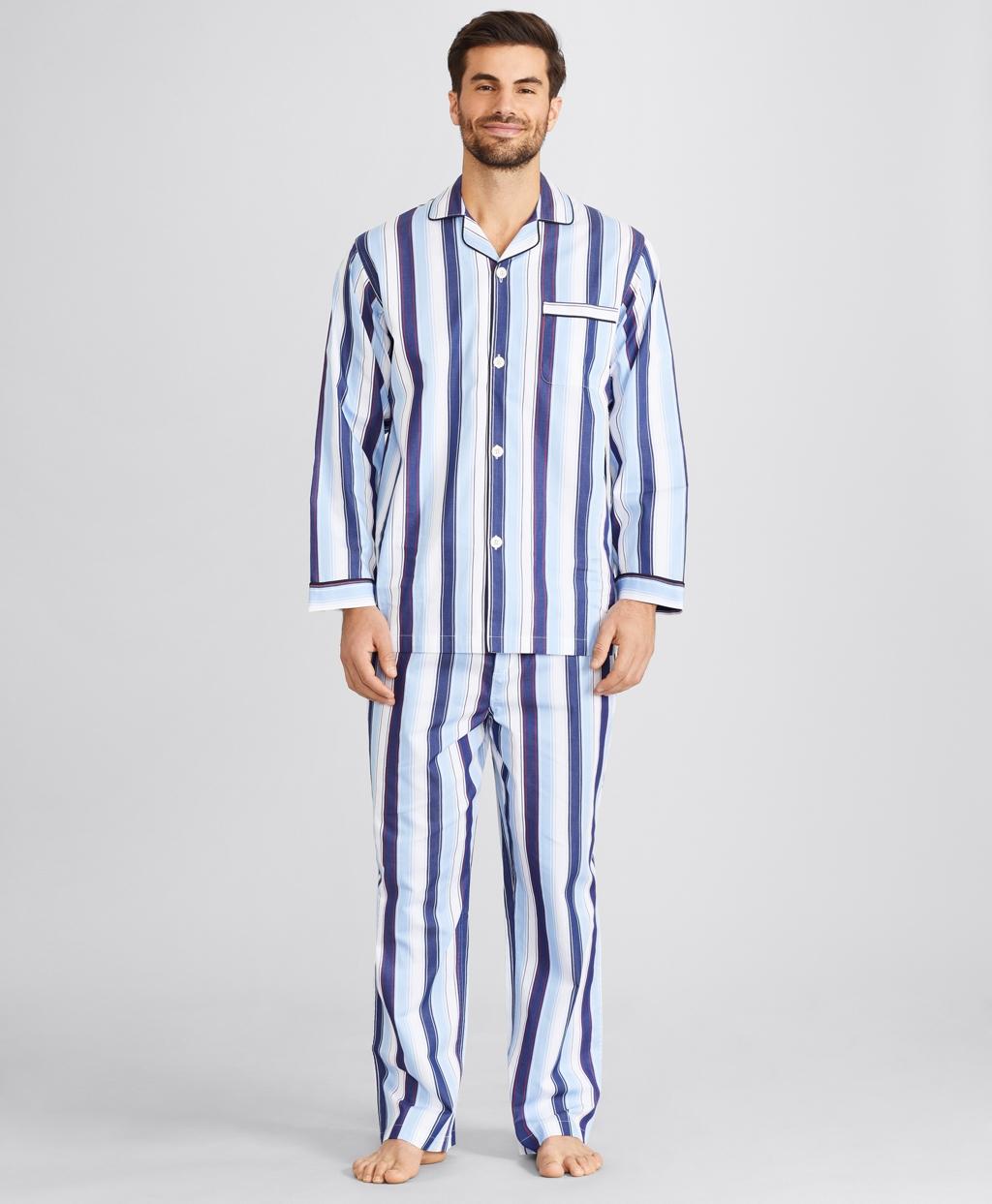 1940s Men's Underwear: Briefs, Boxers, Unions, & Socks Brooks Brothers Mens Bold Stripe Pajamas $98.50 AT vintagedancer.com