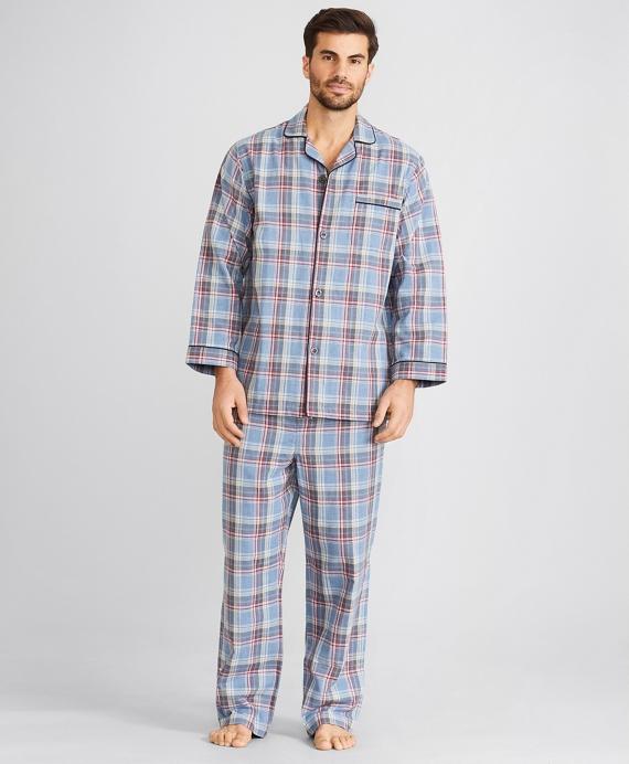 Double-Weave Plaid Pajamas Navy