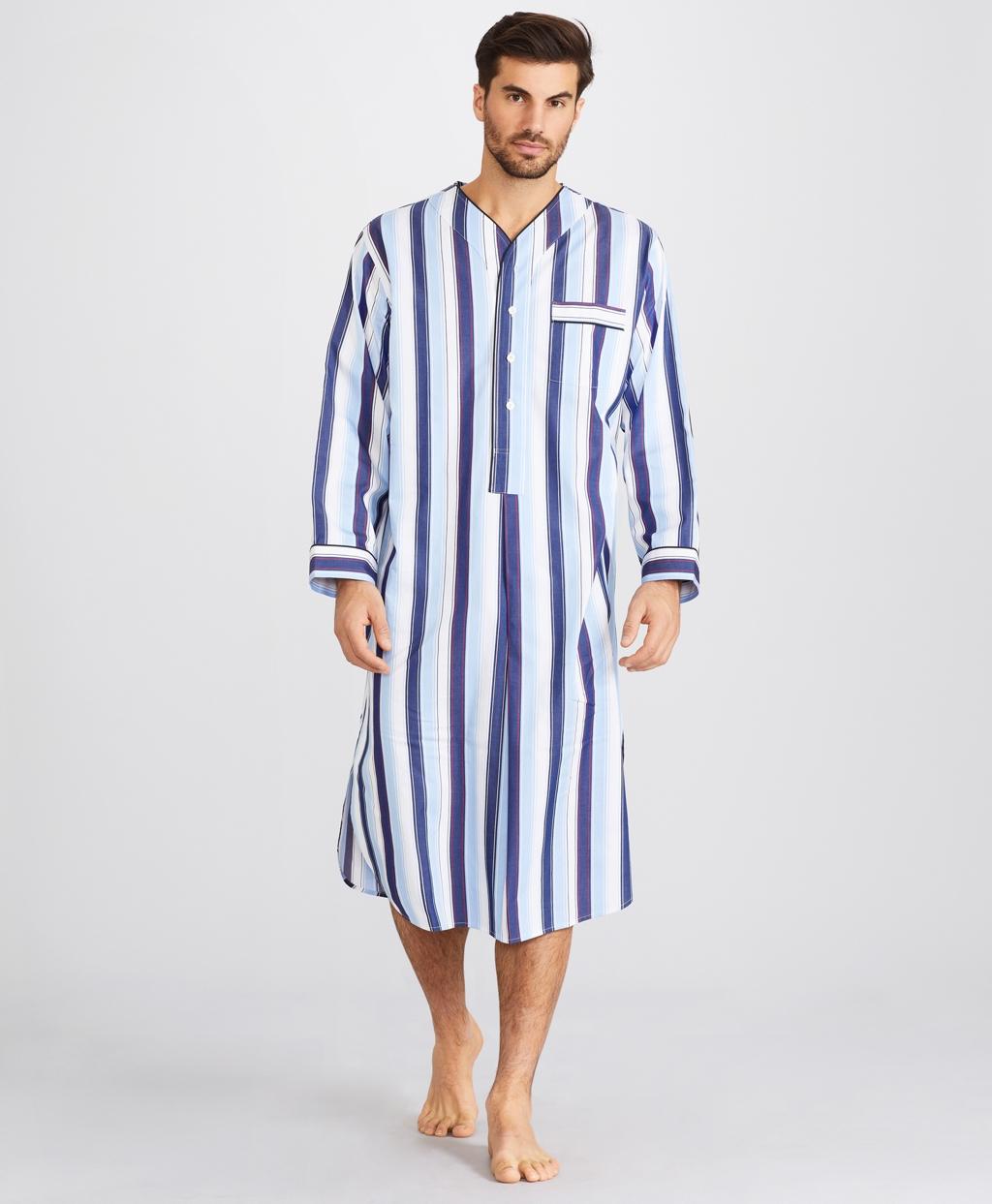 1940s Men's Underwear: Briefs, Boxers, Unions, & Socks Brooks Brothers Mens Bold Stripe Nightshirt $79.50 AT vintagedancer.com