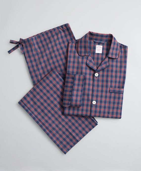 Tartan Cotton Poplin Pajamas Navy
