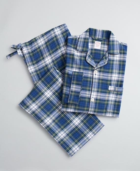 Plaid Cotton Flannel Pajamas Green