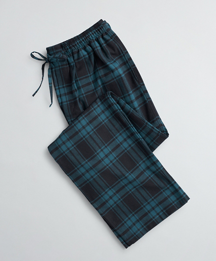 Black Watch Tartan Cotton Flannel Lounge Pants