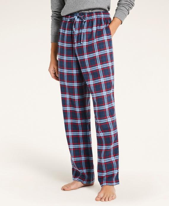 Open Plaid Flannel Lounge Pants Blue