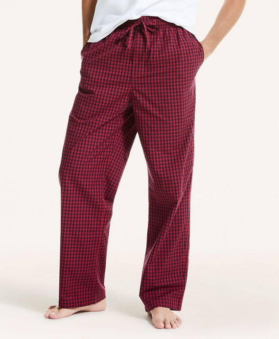 Plaid Cotton Broadcloth Lounge Pants Red