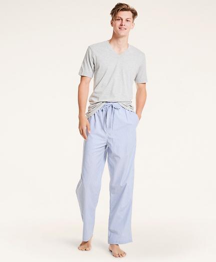 Striped Cotton Broadcloth Lounge Pants