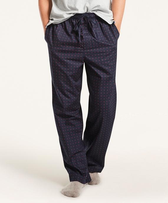 Polka Dot Cotton Broadcloth Lounge Pants Navy