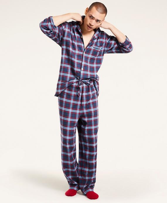 Open Plaid Flannel Pajamas Blue