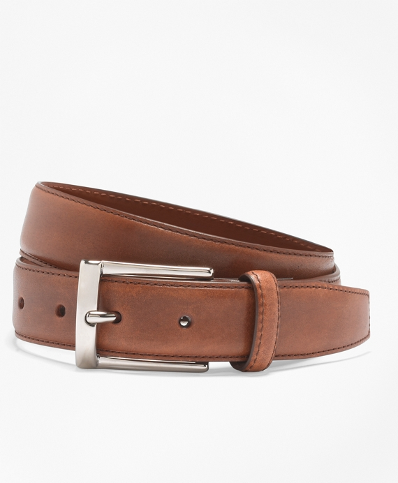 Silver Buckle Dress Belt Walnut