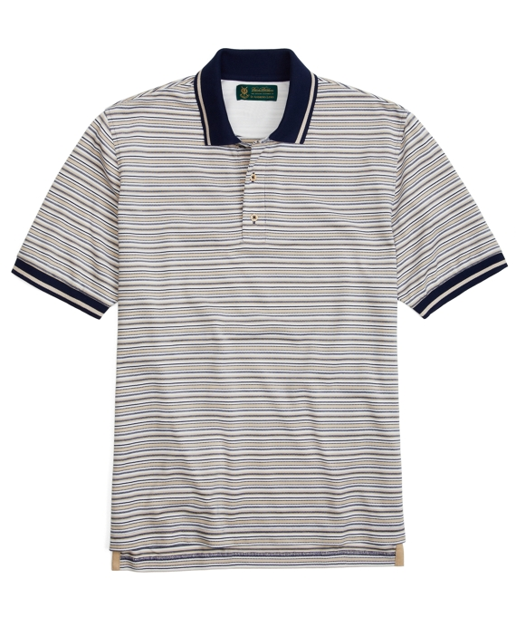 St Andrews Links Multistripe Polo Shirt Tan-Navy