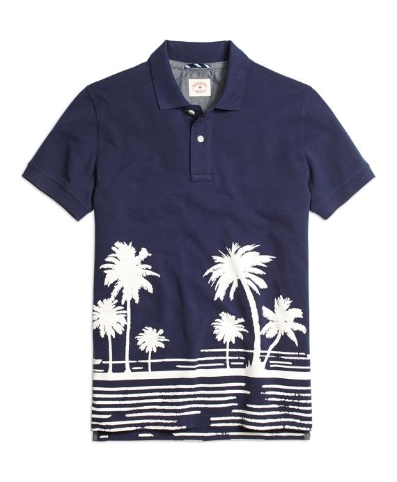 Tropical Print Polo Shirt Navy