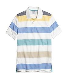 Slim Fit Wide Multibar Stripe Polo Shirt
