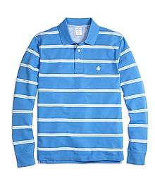 Long-Sleeve Slim Fit Stripe Polo Shirt