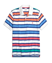 Slim Fit Large Framed Stripe Polo Shirt