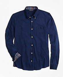 Indigo Knit Button-Down Shirt