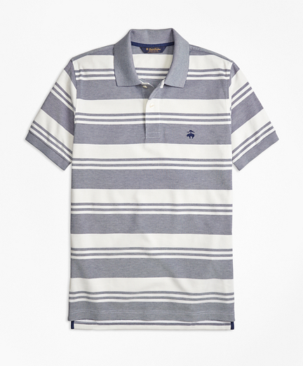 Slim Fit Oxford Pique Beach Stripe Polo Shirt