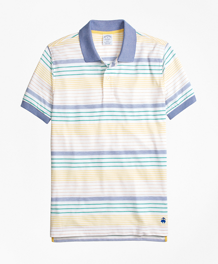 Slim Fit Supima® Cotton Pique Multi-Stripe Polo Shirt