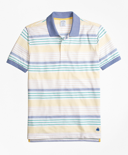 Original Fit Supima® Cotton Pique Multi-Stripe Polo Shirt