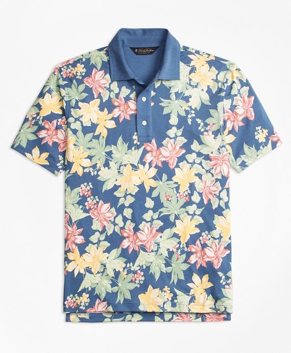 Original Fit Interlock Tropical Print Polo Shirt Blue