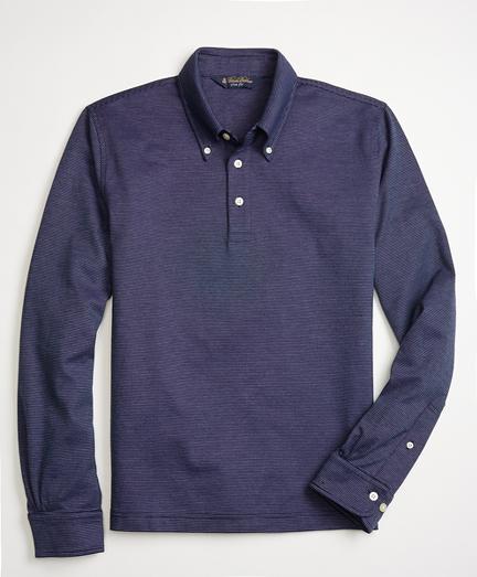 Slim Fit Long-Sleeve Feeder Polo Shirt