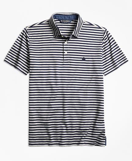 Slim Fit  Stripe Self-Collar Polo Shirt