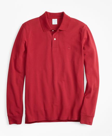 Slim Fit Supima® Long-Sleeve Performance Polo Shirt