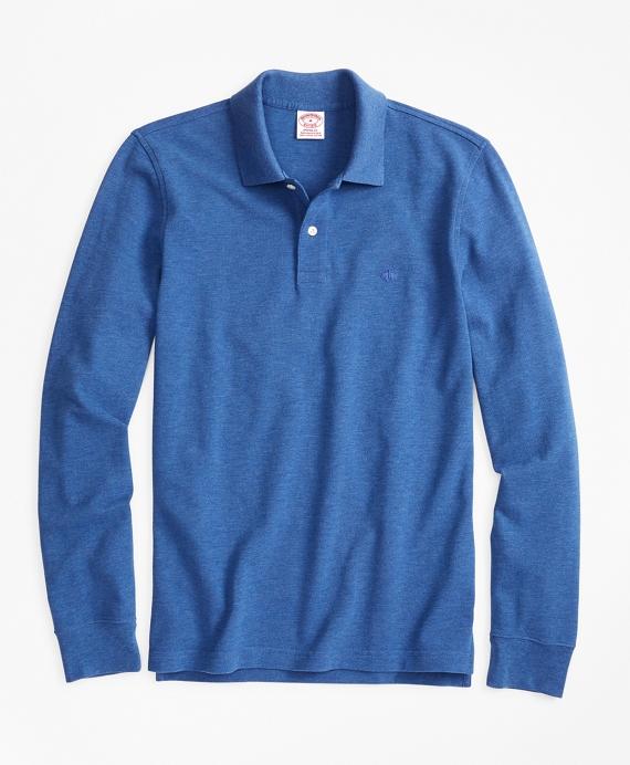 Original Fit Supima® Long-Sleeve Performance Polo Shirt Blue