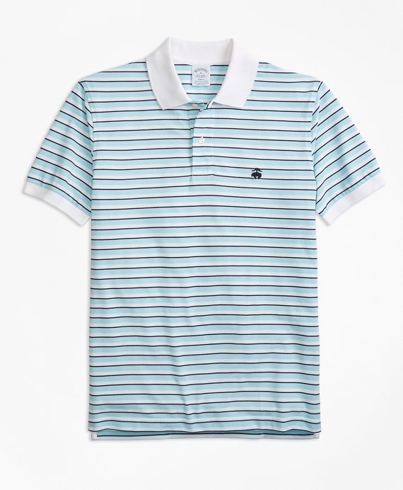 Slim Fit Supima® Oxford Stripe Polo Shirt Aqua