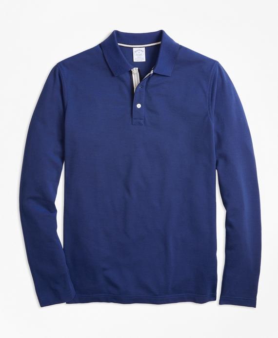 Slim Fit Long-Sleeve Supima® Oxford Polo Shirt Navy
