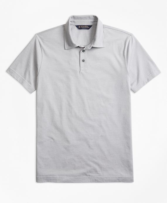 Slim Fit Micro-Feeder Stripe Jersey Polo Shirt Grey