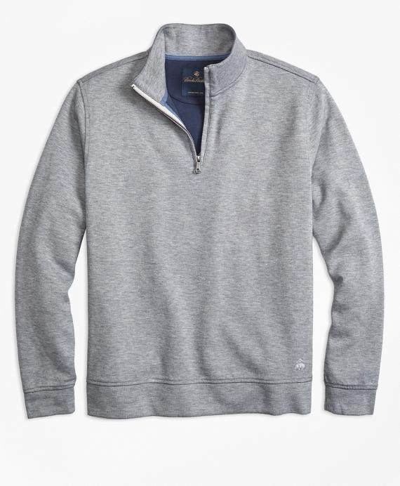 Double-Faced Cotton Half-Zip Grey