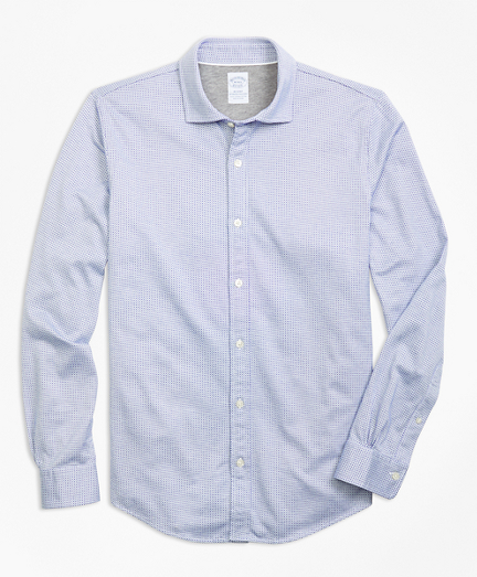 Micro-Pattern Jacquard Knit Shirt