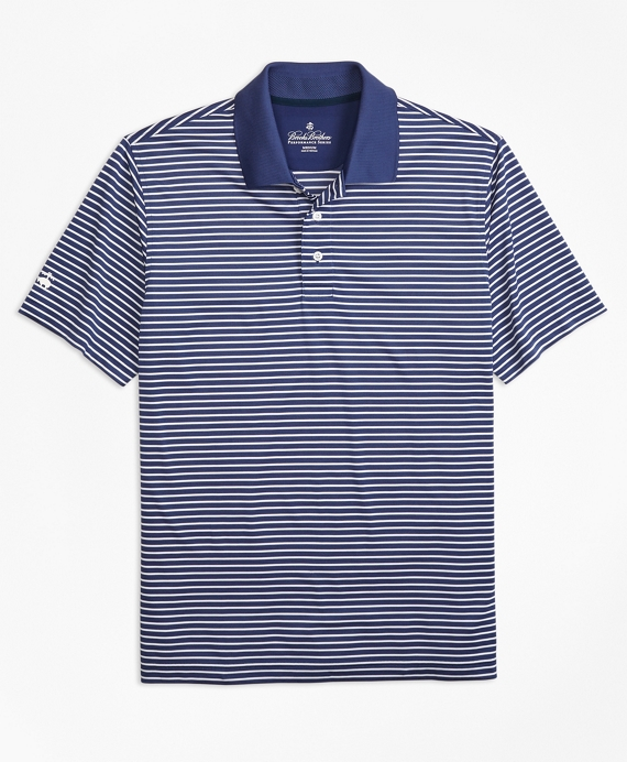 Performance Series Textured Stripe Polo Shirt Navy