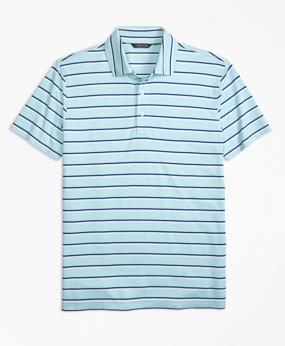 Original Fit Supima® Cotton Stripe Polo Shirt Aqua-Navy