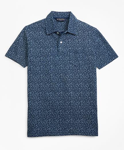 Slim Fit Micro-Floral Indigo Print Polo Shirt