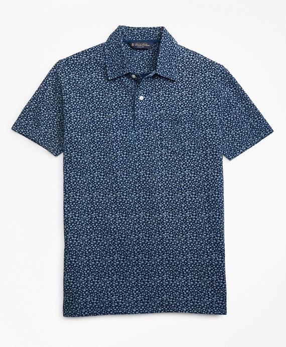 Slim Fit Micro-Floral Indigo Print Polo Shirt Blue