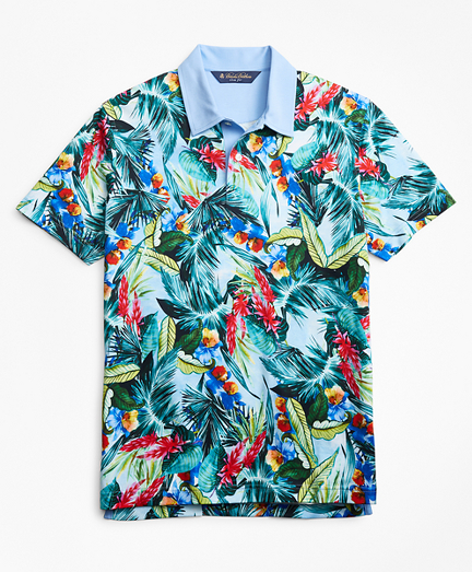 Slim Fit Bold Tropical Print Polo Shirt