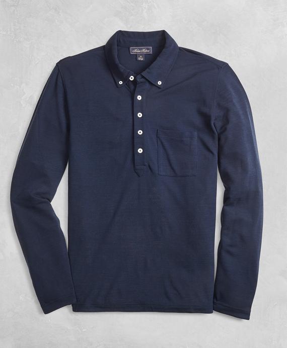 BrooksTech™ Long-Sleeve Polo Shirt Navy
