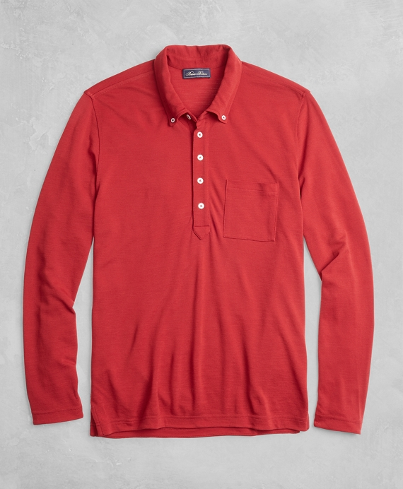 Golden Fleece® BrooksTech™ Long-Sleeve Polo Shirt Red