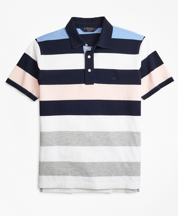 Slim Fit Roadmap Bold Stripe Polo Shirt Blue Multi