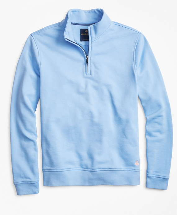 French Terry Half-Zip Light Blue