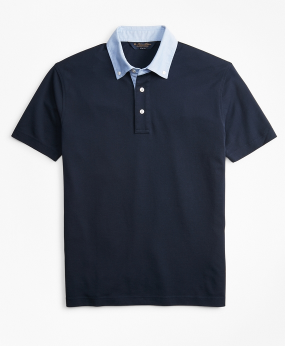Slim Fit Oxford Collar Polo Shirt Navy
