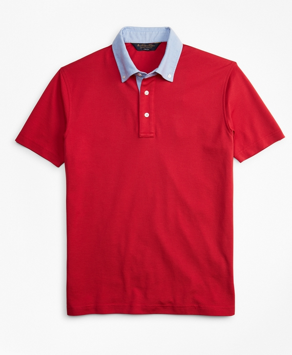Slim Fit Oxford Collar Polo Shirt Red