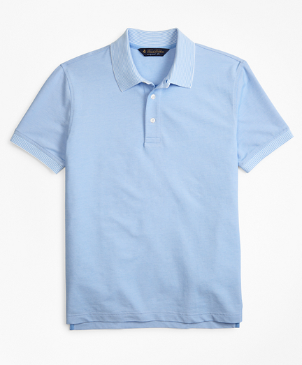 Original Fit Cotton and Linen  Stripe Collar Polo Shirt